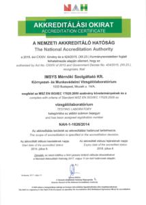 Akkreditálási Okirat Környezet és Munkavédelmi Vizsgálalaboratiórium